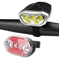 Zestaw latarek rowerowych 5 LED COB
